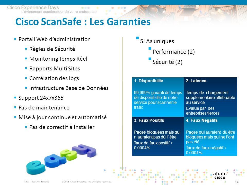 © 2009 Cisco Systems, Inc. All rights reserved. CxD – Session Sécurité 14 Cisco ScanSafe : Les Garanties Portail Web dadministration Règles de Sécurit