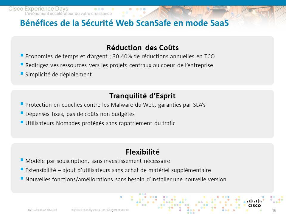 © 2009 Cisco Systems, Inc. All rights reserved. CxD – Session Sécurité 16 Bénéfices de la Sécurité Web ScanSafe en mode SaaS Réduction des Coûts Econo