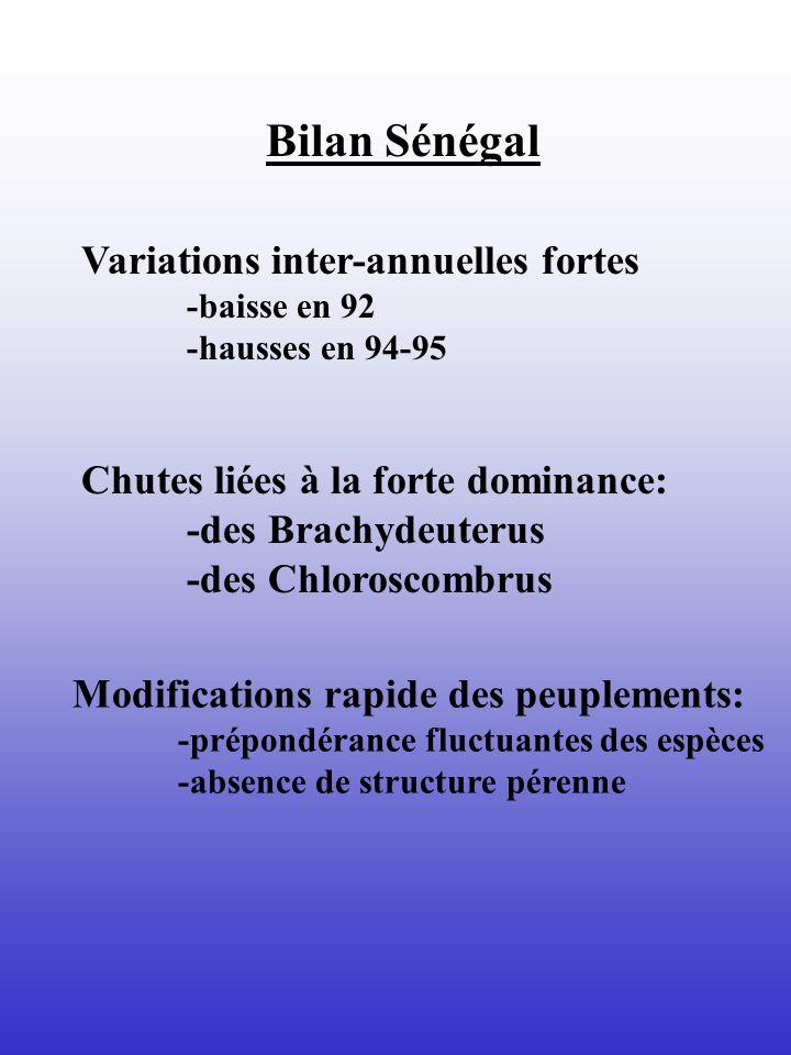 Bilan Sénégal Variations inter-annuelles fortes -baisse en 92 -hausses en 94-95 Chutes liées à la forte dominance: -des Brachydeuterus -des Chloroscom