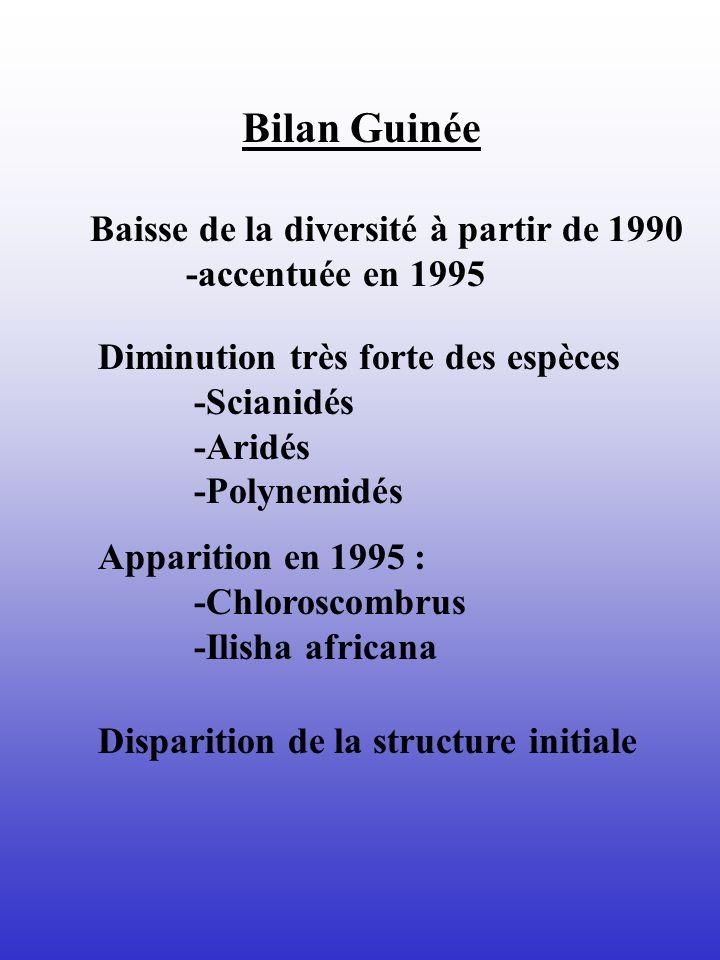 Bilan Guinée Baisse de la diversité à partir de 1990 -accentuée en 1995 Diminution très forte des espèces -Scianidés -Aridés -Polynemidés Apparition e