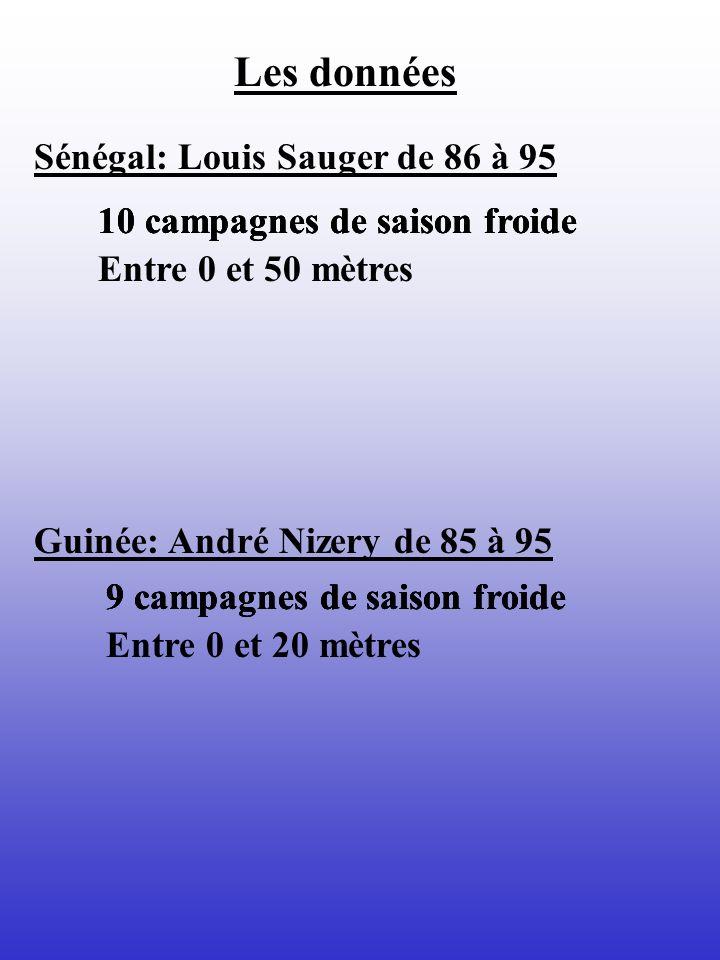 Les données Guinée: André Nizery de 85 à 95 Sénégal: Louis Sauger de 86 à 95 10 campagnes de saison froide Entre 0 et 50 mètres 9 campagnes de saison