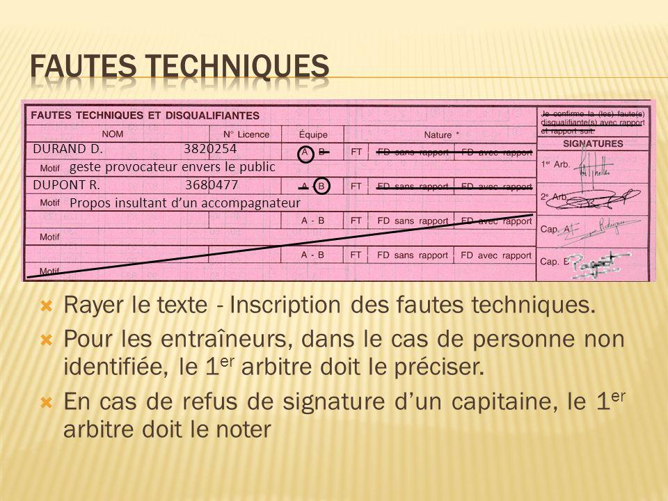 Rayer le texte - Inscription des fautes techniques.