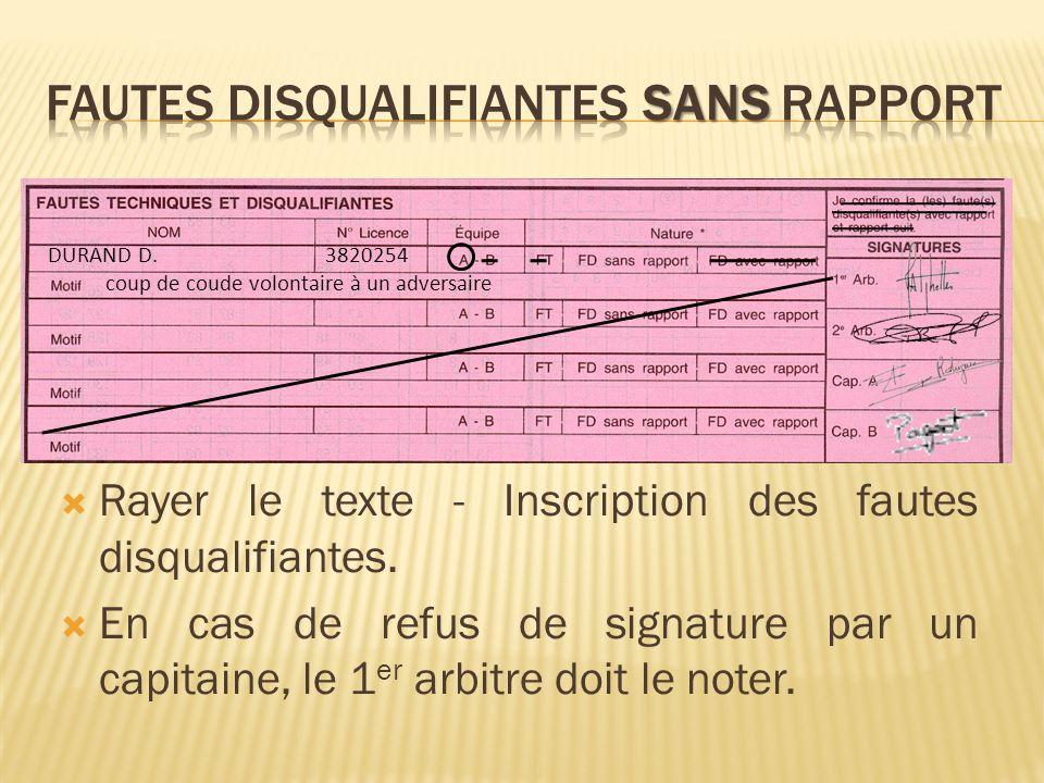Rayer le texte - Inscription des fautes disqualifiantes.