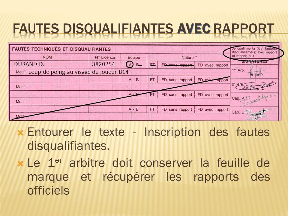 Entourer le texte - Inscription des fautes disqualifiantes.