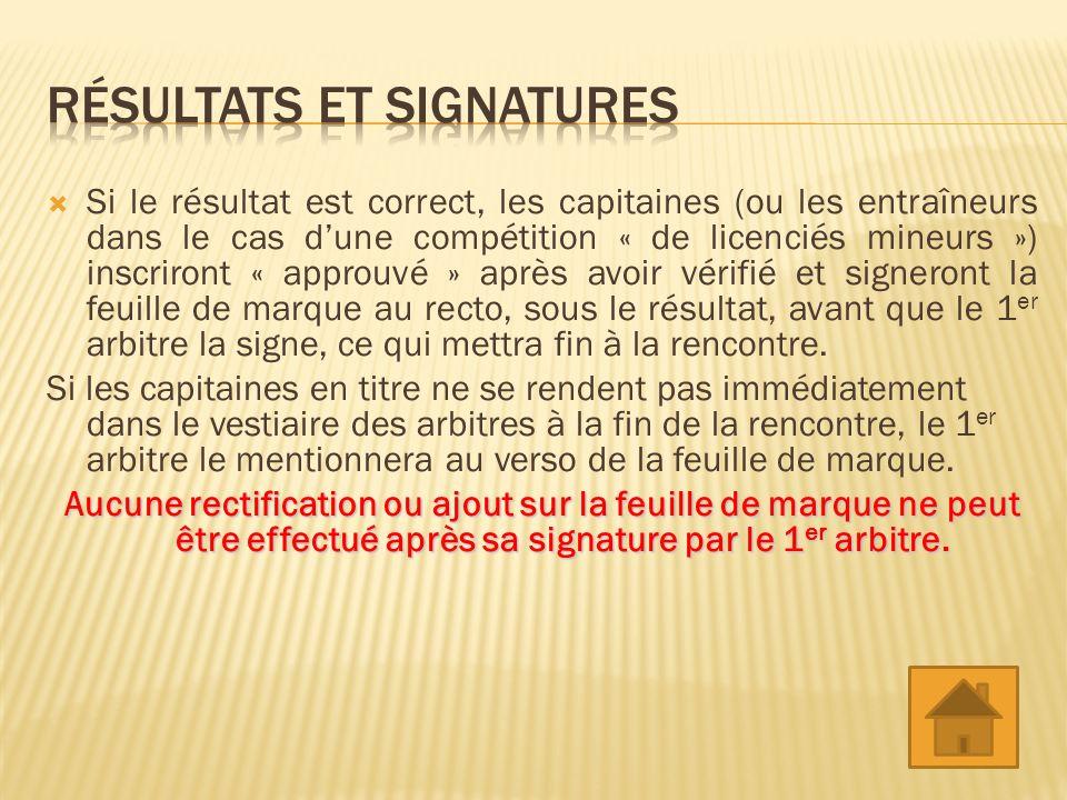 Si le résultat est correct, les capitaines (ou les entraîneurs dans le cas dune compétition « de licenciés mineurs ») inscriront « approuvé » après avoir vérifié et signeront la feuille de marque au recto, sous le résultat, avant que le 1 er arbitre la signe, ce qui mettra fin à la rencontre.