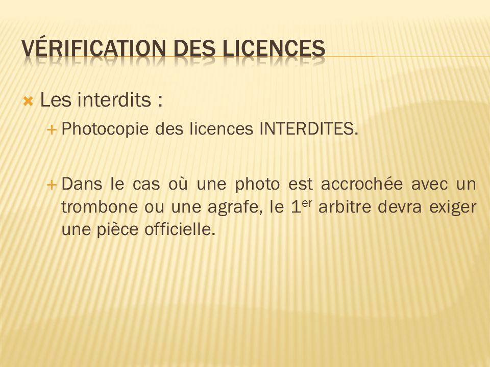 En cas de non présentation de licence En cas de non présentation de licence, le licencié devra présenter une pièce officielle.