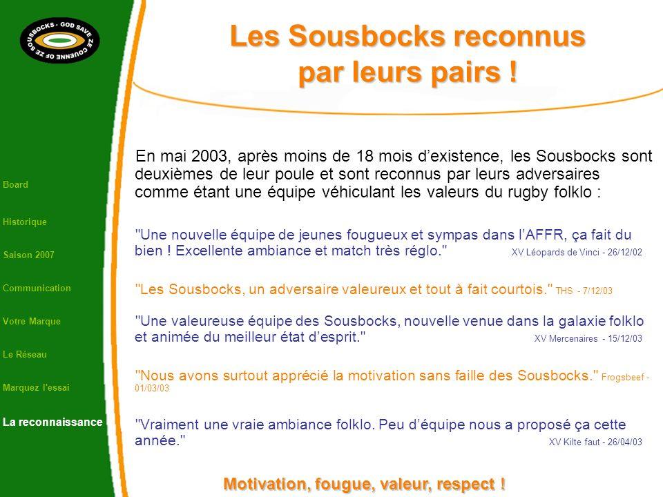 Les Sousbocks reconnus par leurs pairs ! En mai 2003, après moins de 18 mois dexistence, les Sousbocks sont deuxièmes de leur poule et sont reconnus p