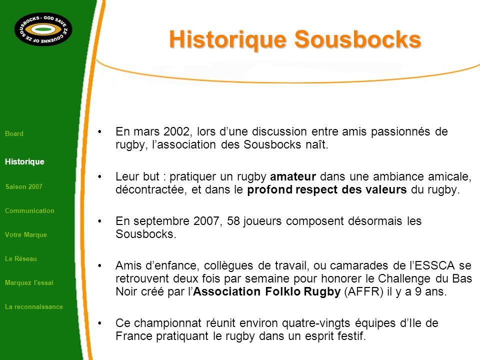 Historique Sousbocks En mars 2002, lors dune discussion entre amis passionnés de rugby, lassociation des Sousbocks naît. Leur but : pratiquer un rugby