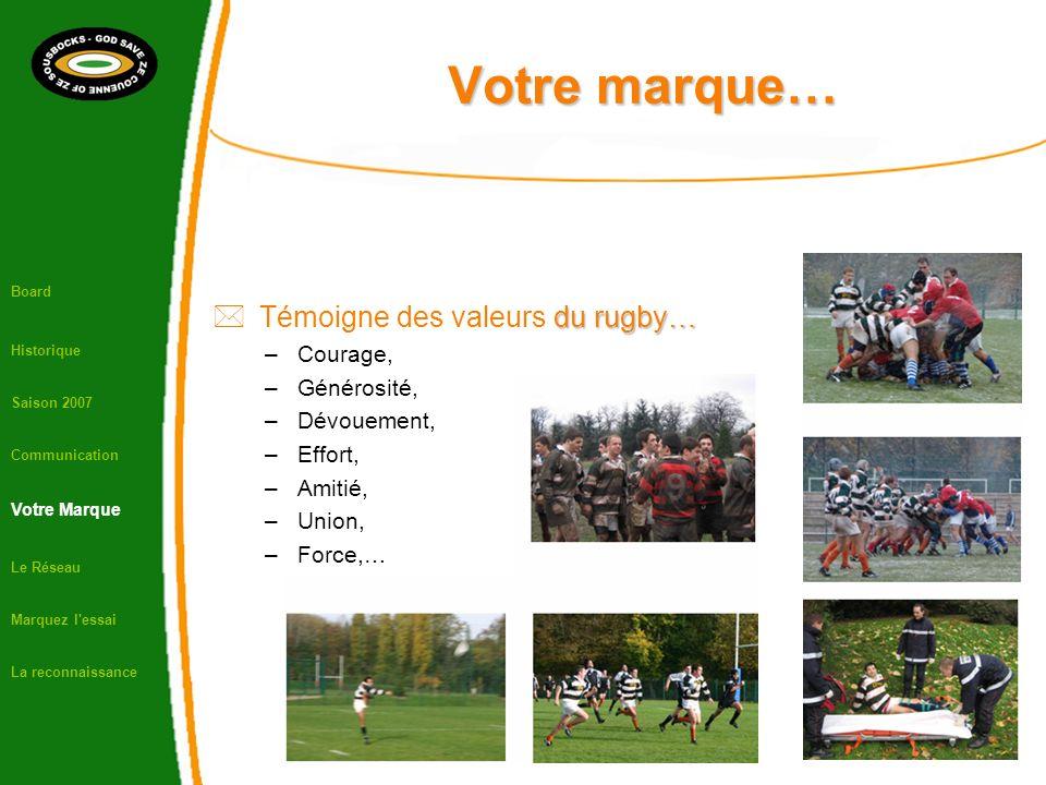 Votre marque… Board Historique Saison 2007 Communication Votre Marque Le Réseau Marquez l essai La reconnaissance du rugby… Témoigne des valeurs du rugby… –Courage, –Générosité, –Dévouement, –Effort, –Amitié, –Union, –Force,…