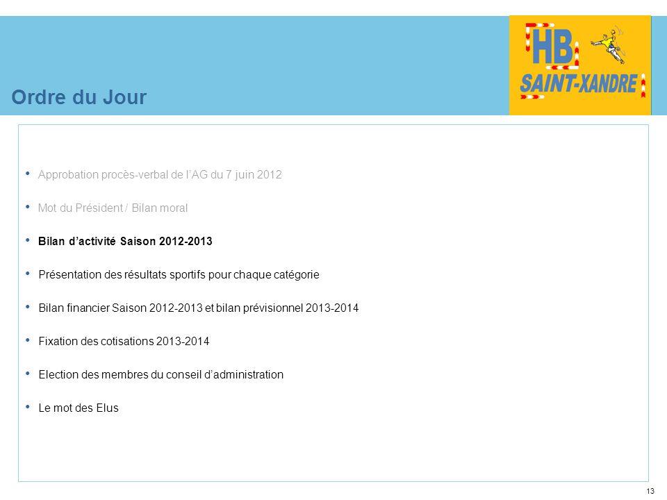 13 Ordre du Jour Approbation procès-verbal de lAG du 7 juin 2012 Mot du Président / Bilan moral Bilan dactivité Saison 2012-2013 Présentation des résu