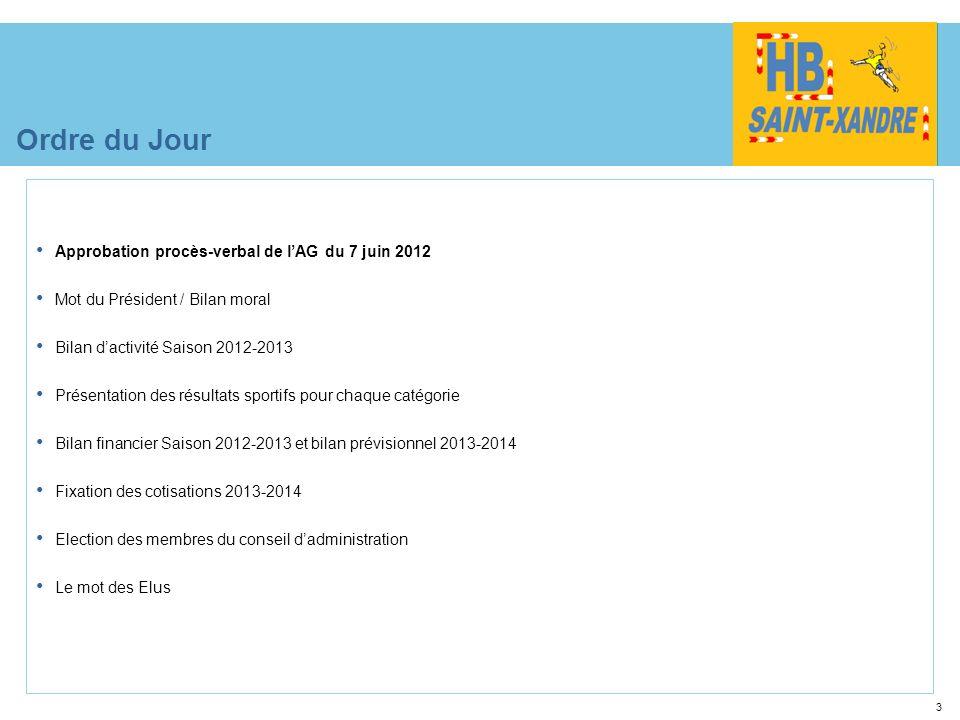 3 Ordre du Jour Approbation procès-verbal de lAG du 7 juin 2012 Mot du Président / Bilan moral Bilan dactivité Saison 2012-2013 Présentation des résul