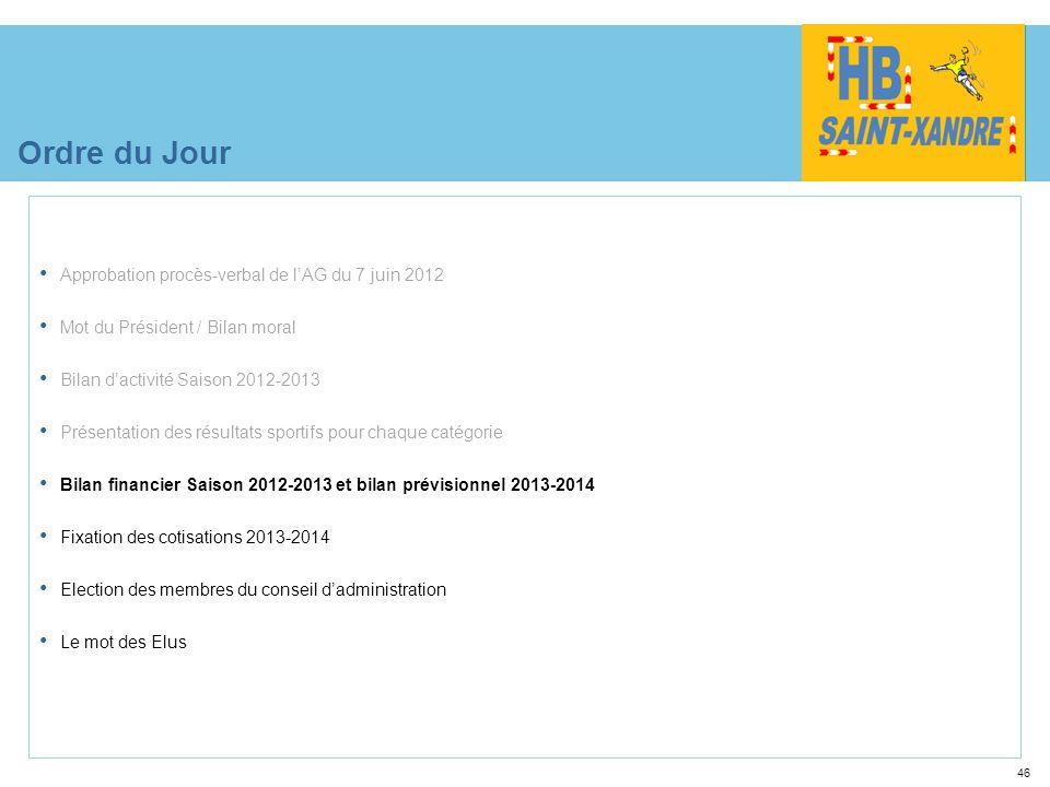 46 Ordre du Jour Approbation procès-verbal de lAG du 7 juin 2012 Mot du Président / Bilan moral Bilan dactivité Saison 2012-2013 Présentation des résu