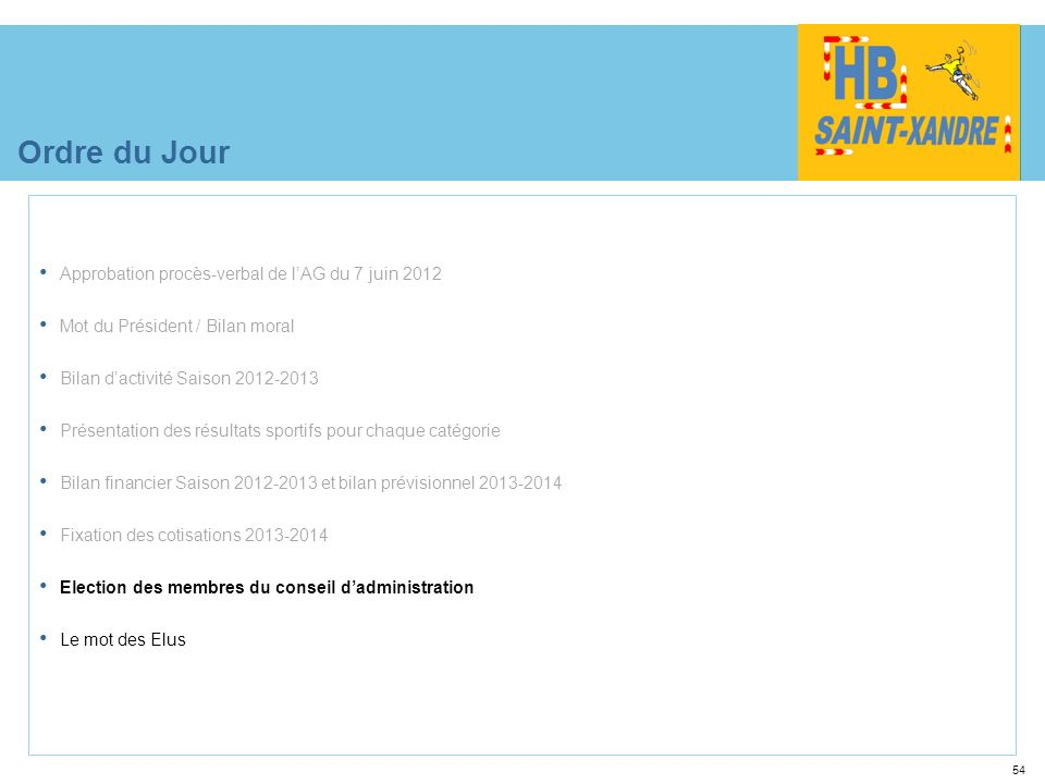 54 Ordre du Jour Approbation procès-verbal de lAG du 7 juin 2012 Mot du Président / Bilan moral Bilan dactivité Saison 2012-2013 Présentation des résu