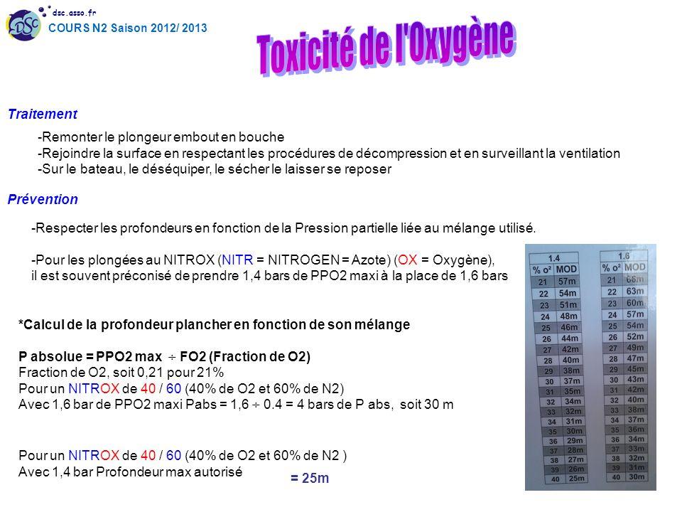 dsc.asso.fr COURS N2 Saison 2012/ 2013 Traitement -Remonter le plongeur embout en bouche -Rejoindre la surface en respectant les procédures de décompr