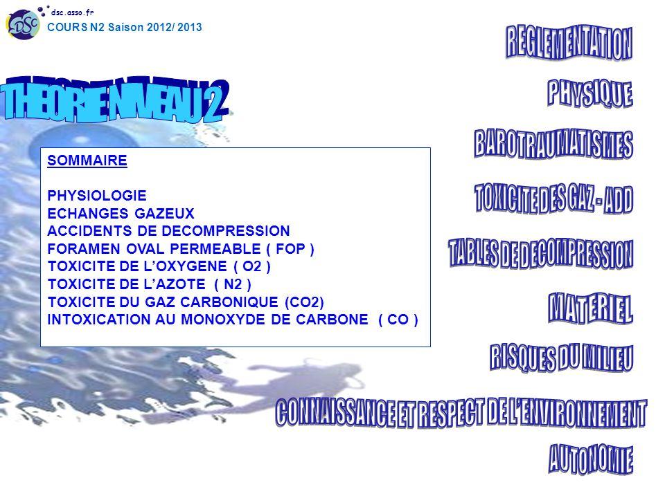 dsc.asso.fr COURS N2 Saison 2012/ 2013 SOMMAIRE PHYSIOLOGIE ECHANGES GAZEUX ACCIDENTS DE DECOMPRESSION FORAMEN OVAL PERMEABLE ( FOP ) TOXICITE DE LOXY