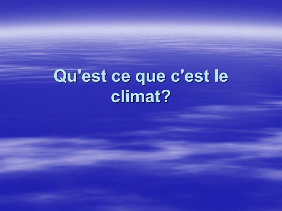La nature du climat Le climat est : L ensemble des conditions du TEMPS.