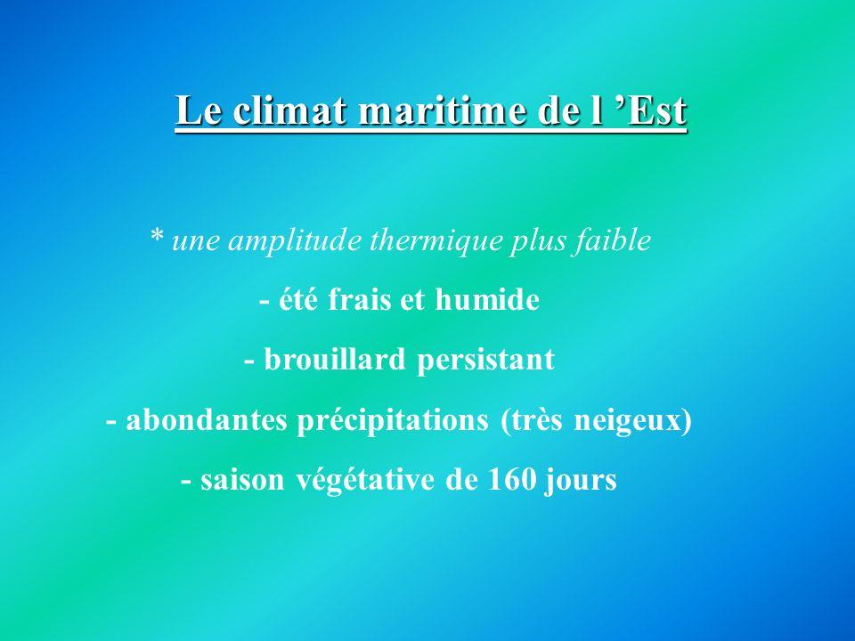 Le climat maritime de l Est * une amplitude thermique plus faible - été frais et humide - brouillard persistant - abondantes précipitations (très neig