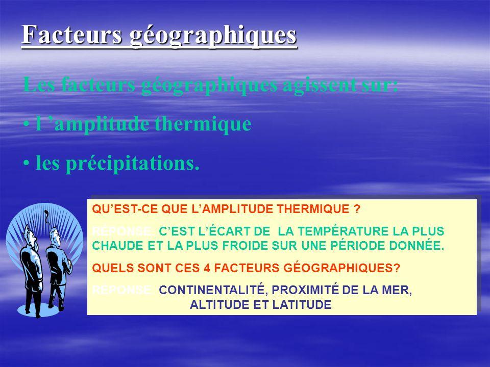 Facteurs géographiques Les facteurs géographiques agissent sur: l amplitude thermique les précipitations. QUEST-CE QUE LAMPLITUDE THERMIQUE ? RÉPONSE: