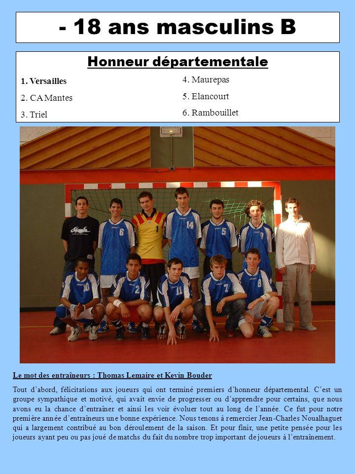- 16 ans masculins A Excellence régionale 1.Franconville 2.
