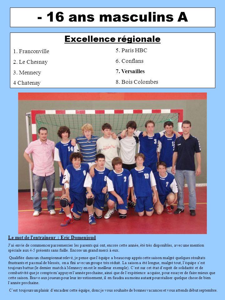 - 16 ans masculins B 2ème division départementale 1.