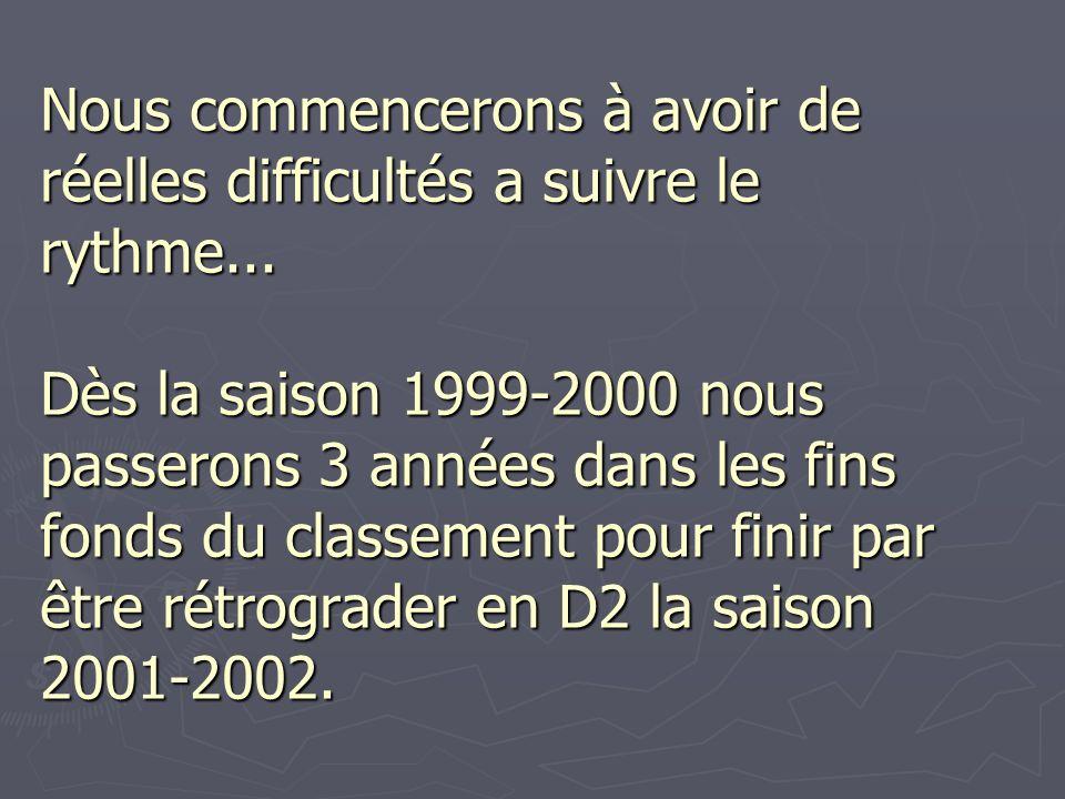 Nous commencerons à avoir de réelles difficultés a suivre le rythme... Dès la saison 1999-2000 nous passerons 3 années dans les fins fonds du classeme