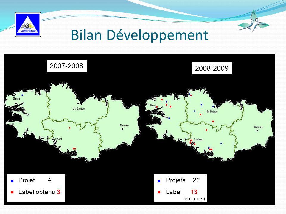 Bilan Développement Projet 4 Label obtenu 3 Projets 22 Label 13 (en cours) 2007-2008 2008-2009