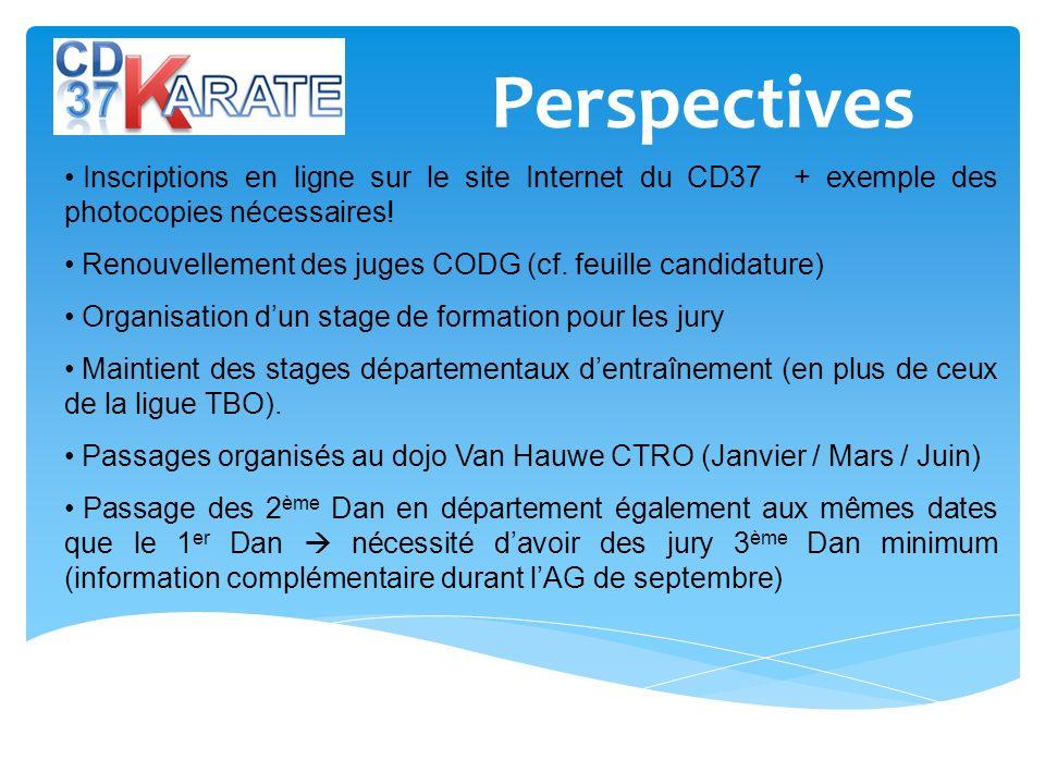 Perspectives Inscriptions en ligne sur le site Internet du CD37 + exemple des photocopies nécessaires! Renouvellement des juges CODG (cf. feuille cand