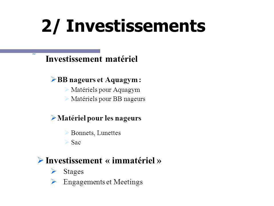 2/ Investissements Investissement matériel BB nageurs et Aquagym : Matériels pour Aquagym Matériels pour BB nageurs Matériel pour les nageurs Bonnets, Lunettes Sac Investissement « immatériel » Stages Engagements et Meetings