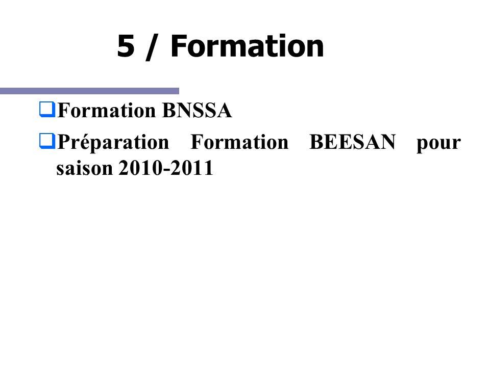 5 / Formation Formation BNSSA Préparation Formation BEESAN pour saison 2010-2011