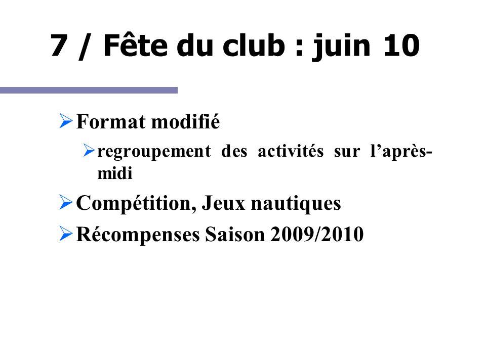 7 / Fête du club : juin 10 Format modifié regroupement des activités sur laprès- midi Compétition, Jeux nautiques Récompenses Saison 2009/2010