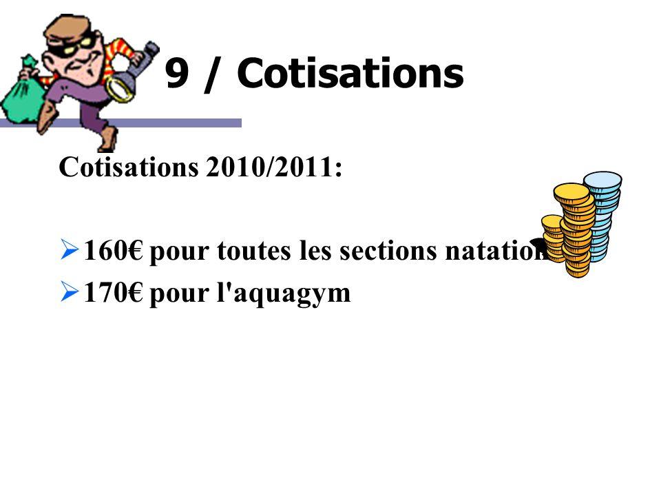 9 / Cotisations Cotisations 2010/2011: 160 pour toutes les sections natation 170 pour l'aquagym