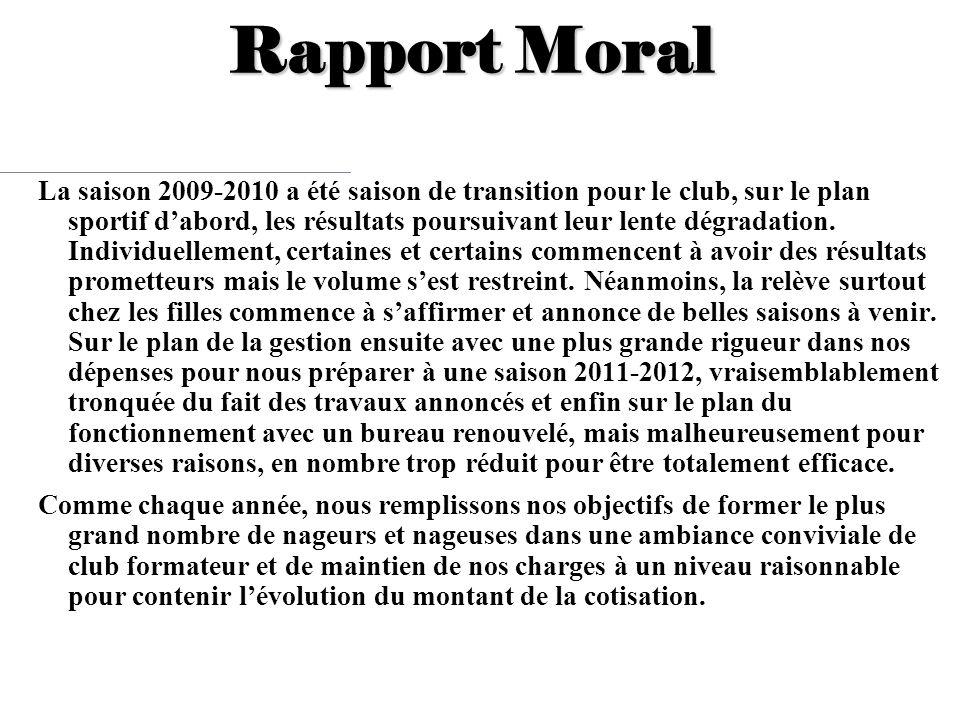 Rapport Moral La saison 2009-2010 a été saison de transition pour le club, sur le plan sportif dabord, les résultats poursuivant leur lente dégradatio