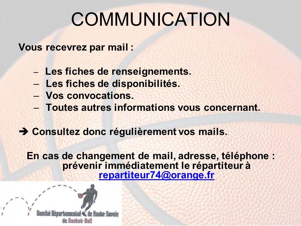 COMMUNICATION Vous recevrez par mail : – Les fiches de renseignements.