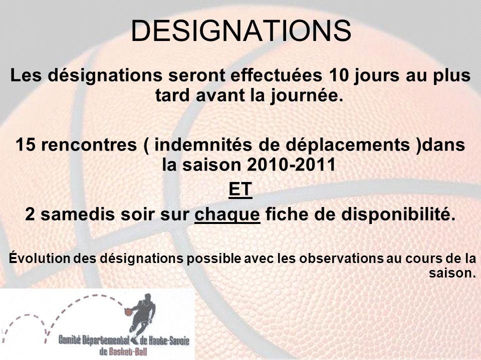 DESIGNATIONS Les désignations seront effectuées 10 jours au plus tard avant la journée.