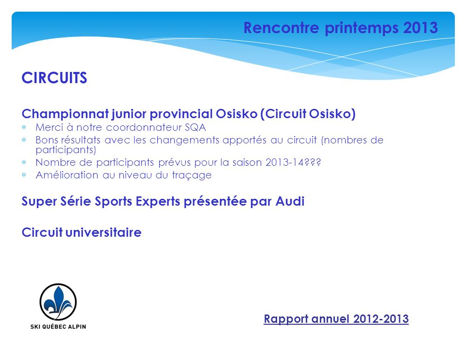 CIRCUITS Championnat junior provincial Osisko (Circuit Osisko) Merci à notre coordonnateur SQA Bons résultats avec les changements apportés au circuit