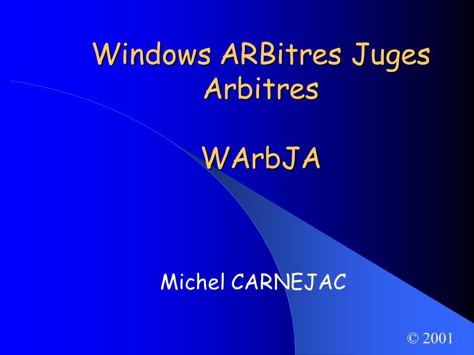 Michel CARNEJAC (C)opyright 2001 Windows ARBitres Juges Arbitres Outil daide au fonctionnement dune commission darbitrage: – Régionale, – Départementale.