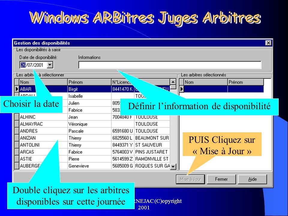 Michel CARNEJAC (C)opyright 2001 Windows ARBitres Juges Arbitres Suivant les réponses reçues il faudra saisir ces disponibilités dans Windows ARBitres