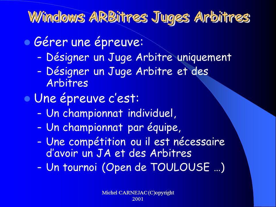 Michel CARNEJAC (C)opyright 2001 Windows ARBitres Juges Arbitres Gérer une épreuve: – Désigner un Juge Arbitre uniquement – Désigner un Juge Arbitre e