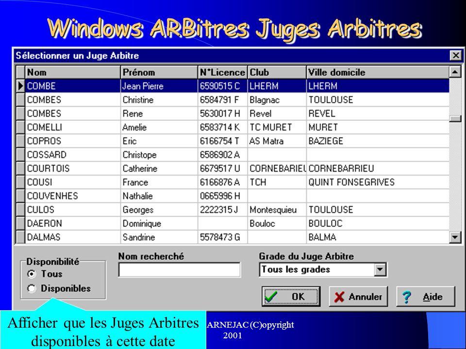Michel CARNEJAC (C)opyright 2001 Windows ARBitres Juges Arbitres Pour désigner le Juge Arbitre de lépreuve, il faut cliquer sur la zone en vert du nom