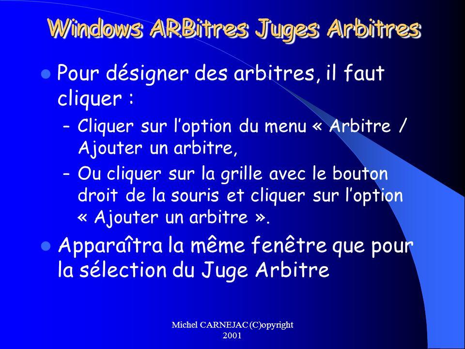 Michel CARNEJAC (C)opyright 2001 Windows ARBitres Juges Arbitres Pour désigner des arbitres, il faut cliquer : – Cliquer sur loption du menu « Arbitre