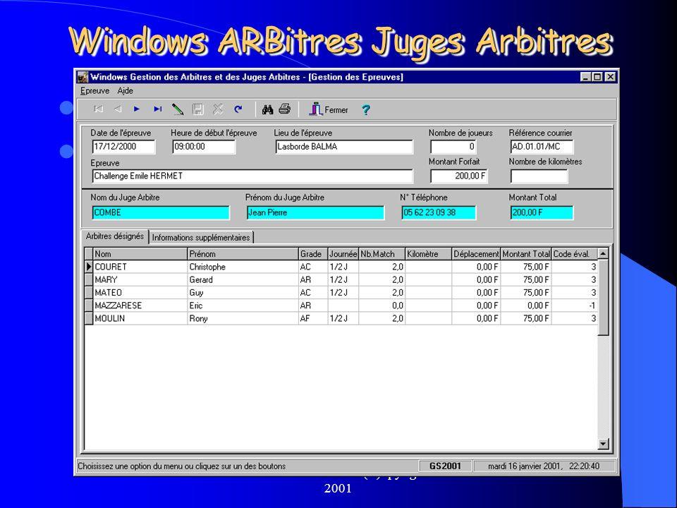 Michel CARNEJAC (C)opyright 2001 Windows ARBitres Juges Arbitres Une fois lépreuve TERMINEE Il faut rentrer les données résultat de lépreuve dans Wind