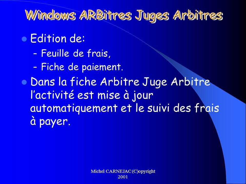 Michel CARNEJAC (C)opyright 2001 Windows ARBitres Juges Arbitres Edition de: – Feuille de frais, – Fiche de paiement. Dans la fiche Arbitre Juge Arbit