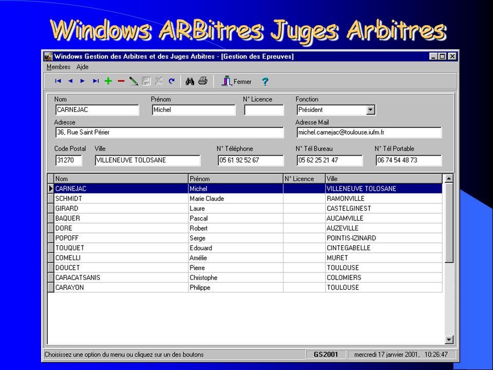 Michel CARNEJAC (C)opyright 2001 Windows ARBitres Juges Arbitres Gestion de la Commission darbitrage. – Ses membres, – Son organisation, – Ses réunion