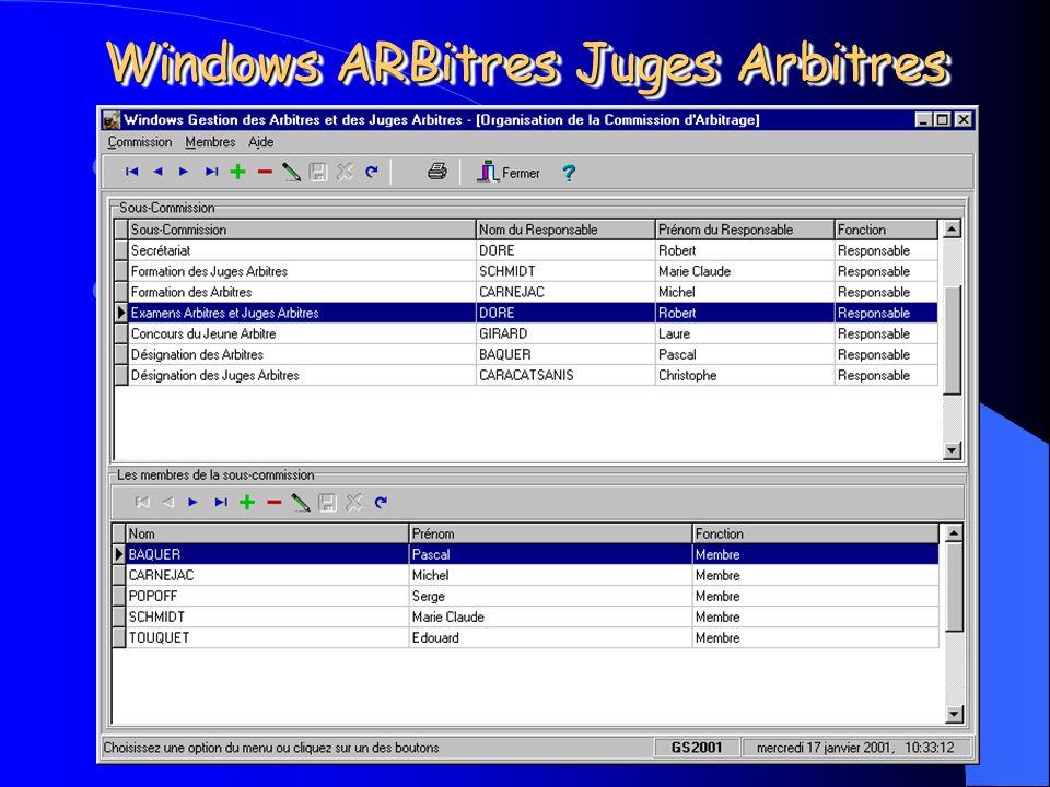 Michel CARNEJAC (C)opyright 2001 Windows ARBitres Juges Arbitres La fiche de gestion des membres de la commission. La fiche de gestion des membres de