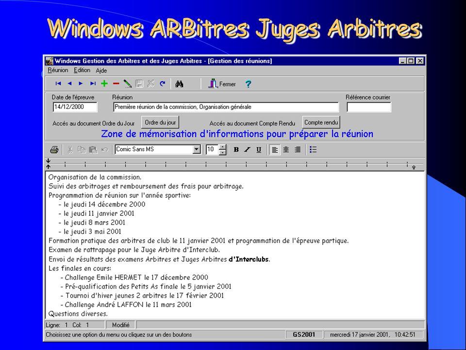 Michel CARNEJAC (C)opyright 2001 Windows ARBitres Juges Arbitres La partie gestion des réunions: – Gestion de lordre du jour de la réunion, – Gestion