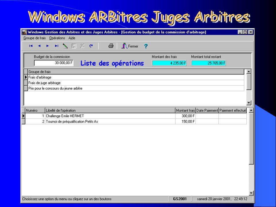 Michel CARNEJAC (C)opyright 2001 Windows ARBitres Juges Arbitres Gestion du Budget. Cette partie permet de gérer le budget de la commission avec suivi
