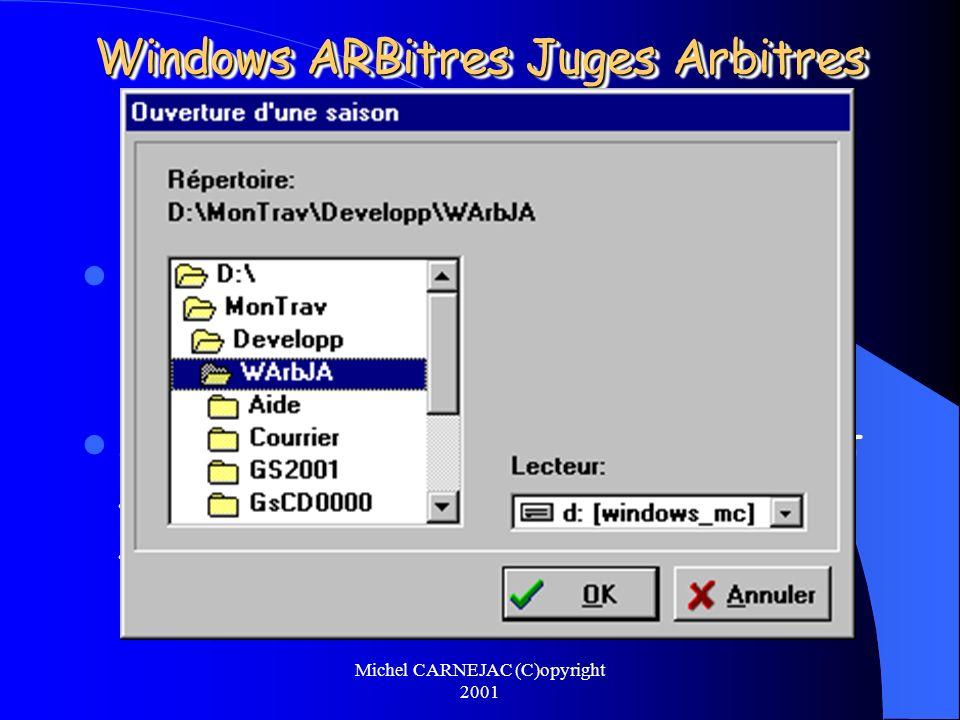 Michel CARNEJAC (C)opyright 2001 Windows ARBitres Juges Arbitres Il faut envoyer les lettres de convocation: – Au Juge Arbitre, – Aux arbitres éventuels.