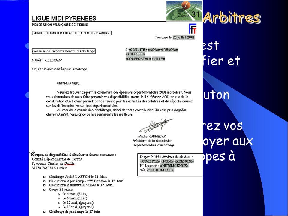 Michel CARNEJAC (C)opyright 2001 Windows ARBitres Juges Arbitres Suivant les réponses reçues il faudra saisir ces disponibilités dans Windows ARBitres Juges Arbitres.