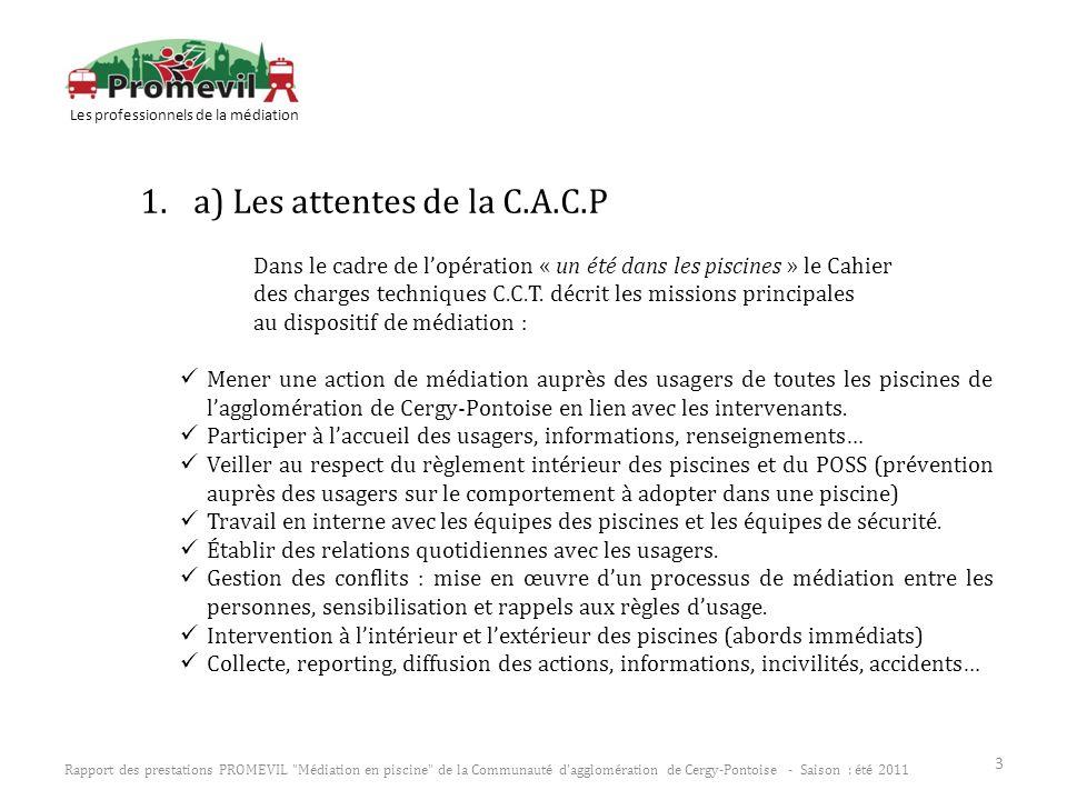 1.a) Les attentes de la C.A.C.P Dans le cadre de lopération « un été dans les piscines » le Cahier des charges techniques C.C.T. décrit les missions p