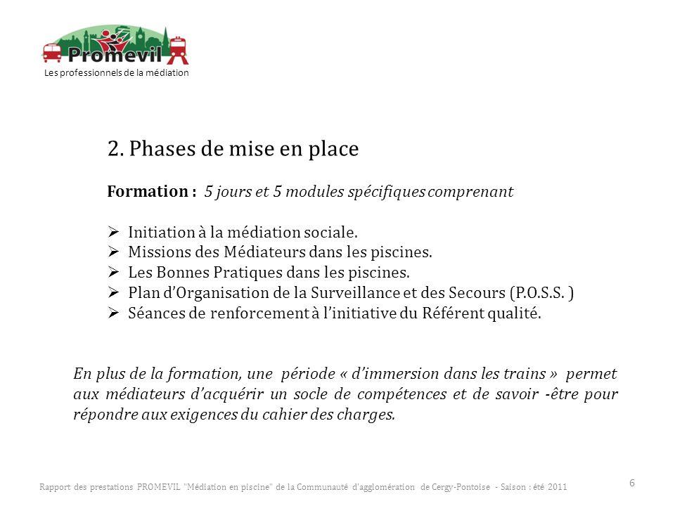 2. Phases de mise en place Formation : 5 jours et 5 modules spécifiques comprenant Initiation à la médiation sociale. Missions des Médiateurs dans les